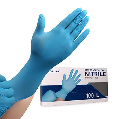 Nitrile Disposable Gloves Large Powder Free 4mil 100 Pcs Latex Free Exam Disposable Gloves (Dark blue L)