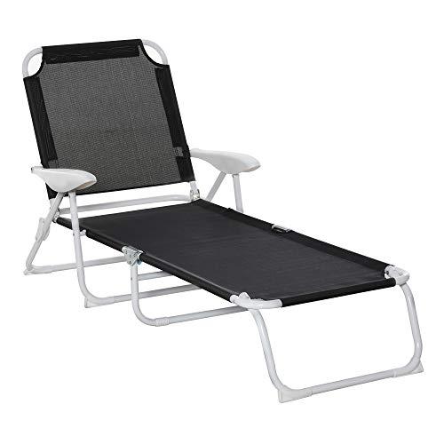 Outsunny Bain de Soleil Pliable - transat inclinable 4 Positions - Chaise Longue Grand Confort avec accoudoirs - métal époxy textilène - dim. 160L x 66l x 80H cm - Noir