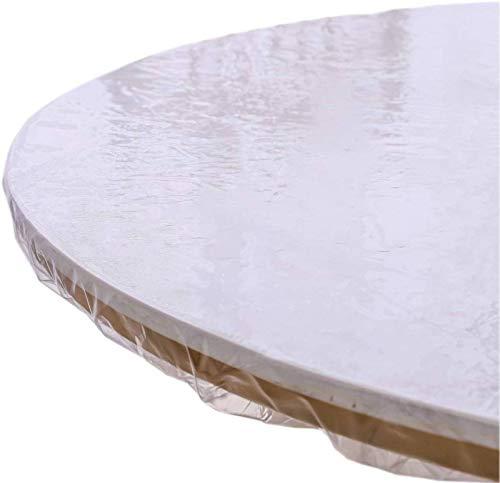 HUANXA Transparente Redondo Mantel para 26-71in Mesa Redonda, Impermeable Vinilo Manteles Borde Elástico Antideslizante Protector De Mesa Mantel De Mesa - diámetro 150-180cm(59-71in)