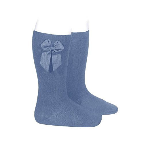 Cóndor Calcetines altos lisos de color azul francia con lazo lateral, Azul, Talla 8 (32-35)