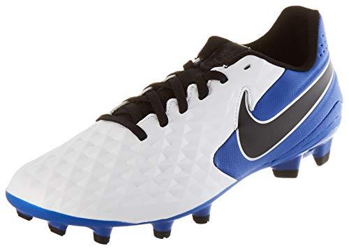 Nike Unisex Legend 8 Academy FG/MG Football Shoe, White/Black-Hyper Royal-Metallic Silver, 43 EU