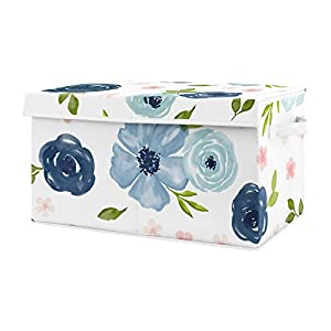 Sweet Jojo Designs Navy Blue Watercolor Floral Girl Small Fabric Toy Bin Storage Box Chest for Baby Nursery or Kids Room – Blush Pink, Green and White Shabby Chic Rose Flower