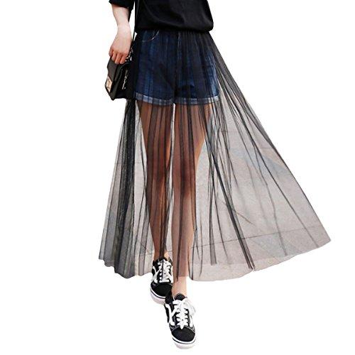 CLARA Women High Waist Mesh Maxi Skirt See-Through Beach Long Tulle Skirt Bodysuit Cover-Up Black