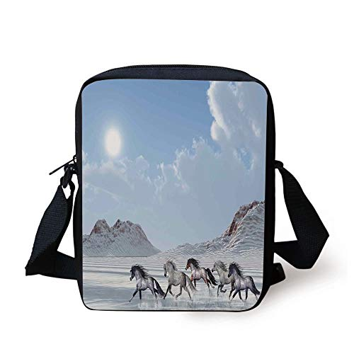 Horses,Herd of Wild Noble Horses Run in the Snows of a Fresh Winter Day Glorious Picture,Blue White Print Kids Crossbody Messenger Bag Purse