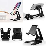 Soporte de teléfono ajustable, plegable, soporte de doble rotación para muelle – Soporte de escritorio de silicona de aluminio completo para iPhone, iPad, HUAWEI, Galaxy, E-Reader (plata)