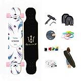 WRISCG Longboard Tabla Completa 107cm x 25cm 8 Capas de Madera de Arce Skateboard, Rodamientos ABEC Alta velicidad, 70x51mm Ruedas de PU, Drop-Through Freeride Skate Cruiser Boards,C