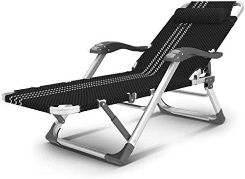 Sillas de jardín reclinable reclinable Gravedad Cero, Chaise Tumbona Plegable Cubierta Impermeable for Ligera en Patio al Aire Libre Playa Campamento, Negro, H003ZJ