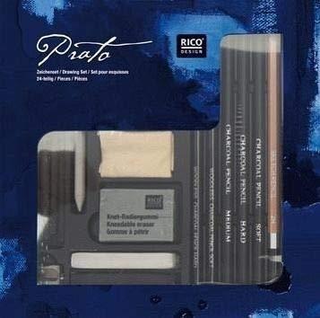 Zeichenset, 24-teilig: 5 Stück natürliche Zeichenkohle, 1 Papierwischer, 1 Anspitzer, 1 Knet-Radiergummi, 1 x Lederstück 3,5' x 5', 3 Kohlestifte ... ... Kohlesticks (2 x hart, 2 x medium, 1 x soft)