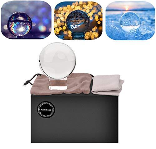 Adwikoso – Kristallkugel / Dekokugel für Fotografie, K9 Glas, mit Tasche und Ständer