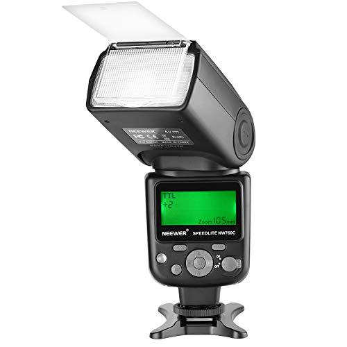 Neewer NW760 Remote TTL Flash Speedlite with LCD Display for Canon 7D Mark II, 5D Mark II III IV III IV 1300D 1200D 1100D 750D 700D 650D 600D 550D 500D 100D 80D 70D 60D and Other Canon DSLR Cameras