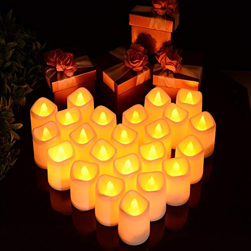 Litake LED Fake Candles 24 Pack, Battery Operated LED Votive Candles Flameless Tea Lights, Romantic Candles Lights for Valentine's Day Home Party Wedding Pool Decor