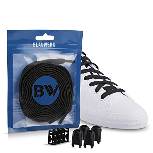 Blauwerk {EINFÜHRUNGSANGEBOT Elastische Schnürsenkel - Gummi Schnürsenkel für Kinder und Erwachsene - Schnürsenkel ohne binden - Gummi Schuhbänder in 14 Farben erhältlich (Schwarz, 100)