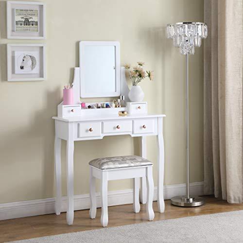 SALBAY White Modern Dressing Table with Framed Mirror, Dresser Set 1 Mirror 5 Drawer with Pinewood stool,Makeup Desk for Bedroom