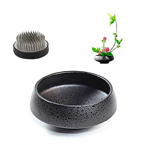 WANDIC - Set di 2 vasi Rotondi con Rana e Ikebana in Ceramica per composizioni Floreali Ikebana, Decorazione per la casa, a Forma di Ciotola, Colore: Nero maculato