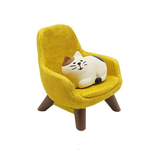 LAMEIDA Puppenhaus DIY Mini Sofa Möbel Zubehör für Kinder Puppenhausmöbel Tischdeko Miniatur Katze mit Sessel niedlich Ornament Puppenhaus Puppenstube Zubehör