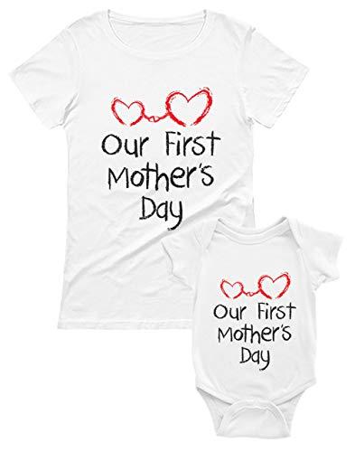 Our First Mother's Day - Regalo Dia de la Madre Bebé Blanco 0-3 Mes/Mamá Blanco Small