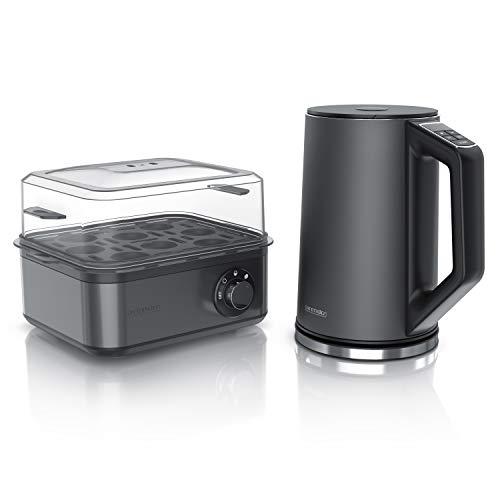 Arendo - Edelstahl Wasserkocher mit Temperaturauswahl + Arendo Eierkocher 8 fach - Wasserkocher im Doppelwanddesign - Küchen Set - Cool Grey Design