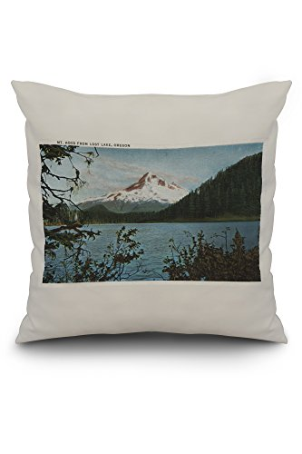 Mt. Hood, Oregon - View of Mountain from Lost Lake #2 (20x20 Spun Polyester Pillow Case, Custom Border)