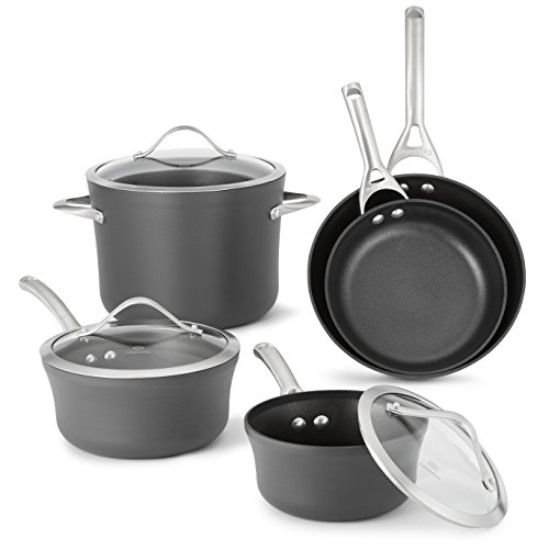 Calphalon Contemporary Hard-Anodized Aluminum Nonstick Cookware, Set, 8-Piece, Black