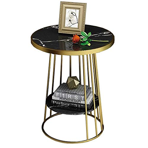 Carl Artbay Home&Selected Furniture / 2-diers bijzettafel salontafel hoektafel met plank voor woonkamer en slaapkamer, marmer met metalen frame, 19,6 ''; 23,6 ''' (kleur: wit)