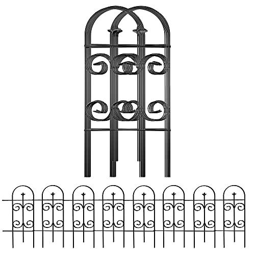 Amagabeli Valla 81CM X 38CM Vallas Decorativas para Jardín de Hierro Set de 8 Valla Metalica Rigida Hierro para Perros Jardín Metalicas Negro Barrera de Animales