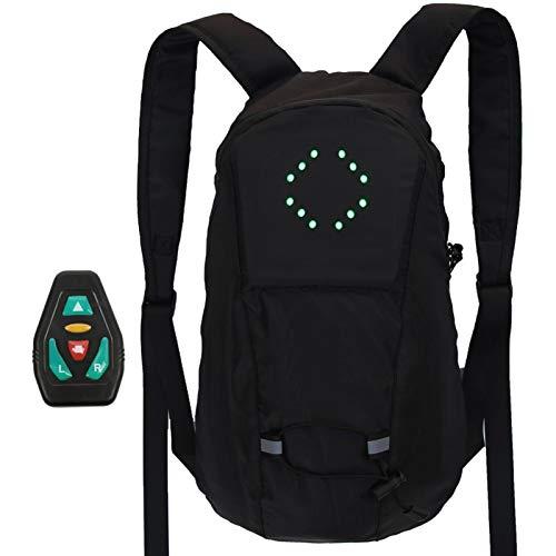 Aosong Mochila reflectante con iluminación LED de 15 L, mochila para portátil de viaje, bolsa ligera para portátil con puerto de carga USB, proporciona 4 señales LED, adecuada para montar en la noche