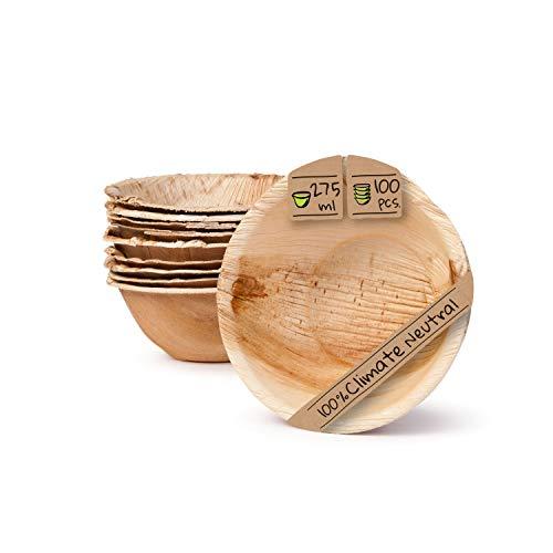 BIOZOYG Umweltfreundliches Einweggeschirr aus Palmblättern | 100 Stück Palmblatt Schale rund 275ml Ø13,5cm | Salat-Schüssel Dipschalen Suppenschale Servierschale Snackschale Einwegschale