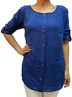 Veronica Long Sleeve Ladies Blouse round neck blue