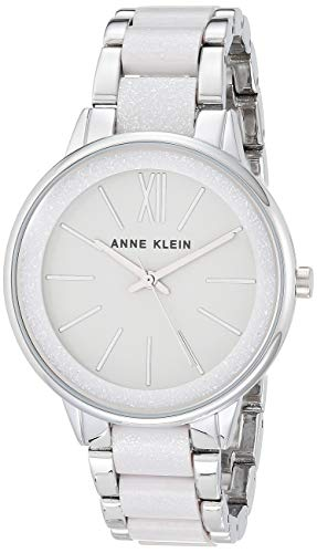Anne Klein Women's AK/1413LGSV Silver-Tone and Light Grey Resin Bracelet Watch