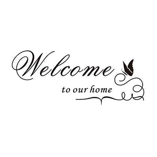 "Demiawaking, adesivo vinilico decorativo con scritta ""Welcome to our home"" (lingua italiana non garantita)"