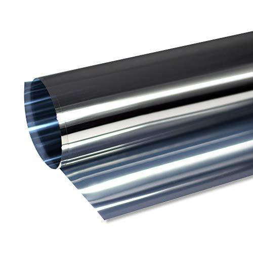 Rapid Teck® 6,25€/m² Prime selbstklebende Spiegelfolie Silber 200cm x 1,52m Kratzfest Sonnenschutzfolie UV Schutz Sichtschutzfolie 99% UV-Schutz selbstklebend Blickdicht