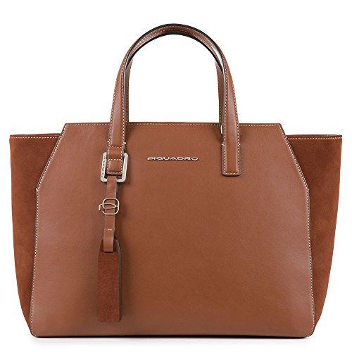 Piquadro Bd4326mus - Bolso de tela de Piel para mujer marrón Marrone...