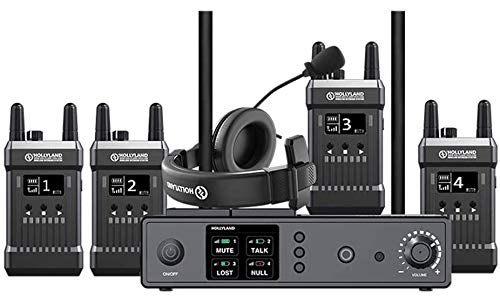 Hollyland Mars T1000 Full-Duplex Wireless Intercom System | Dual-Device Cascade Connection | Carrier-Grade Voice Quality (1 Base Station with 4 Beltpack Transceivers)