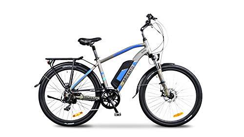 Argento Bicicletta elettrica Alpha Città, Uomo, Grigia e Blu, taglia unica