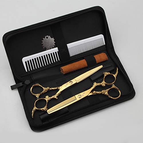 Golden Scissors Hair Scissors Haarscheren Set Flach Geschnittene Zähne Friseurschere 6 Zoll,Gold,6inchset