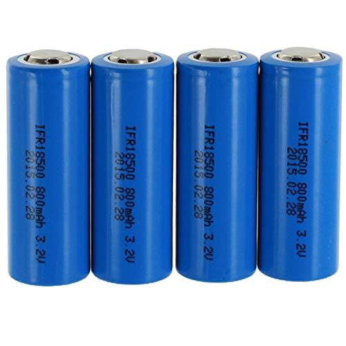 4pc Exell Battery Li-FePO4 Size 18500 Rechargeable Battery 3.2V 800mAh