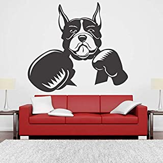 Tesolu Vinyl Wall Lettering Stickers Quotes and Saying Dog Fighter Box Gloves Fight Boxing Pleyer Wall Kids Room