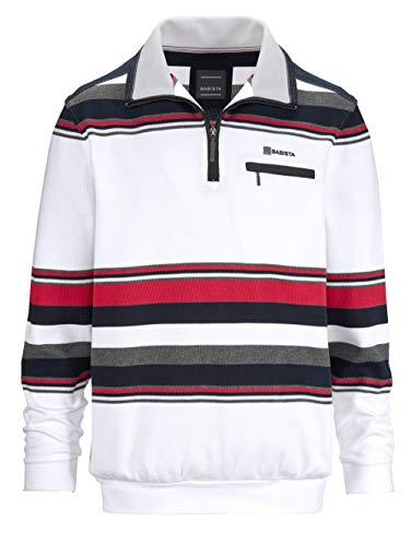 BABISTA Herren Sweatshirt Langarm Gestreift mit Umlegekragen in Weiß aus Baumwolle