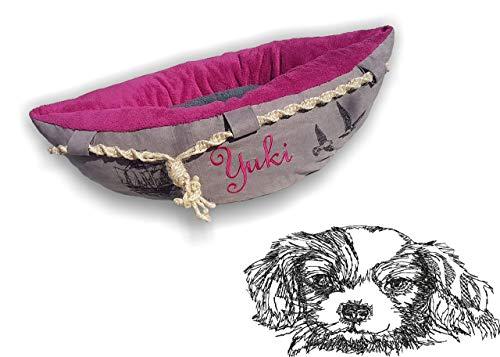 LunaChild Hundebett Hundekörbchen Hund Boot Böötchen King Charles Cavalier 3 Hundeboot Sofa Lounge Hundelounge mit Name Wunschname Snuggle Bag Größe XS S M L viele Farben