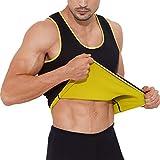 Gowhods Men Hot Sweat Neoprene Sauna Vest, No-Zip Design Tank Top for Waist Training, Tummy Slimming Workout, Body Shaper, Heat Keep Thermal Underwear, Gym Sports Corset, Black