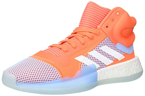 adidas Herren Marquee Boost Low Basketballschuh, Rot (Hi-Res Coral/White/Glow Blue), 39.5 EU