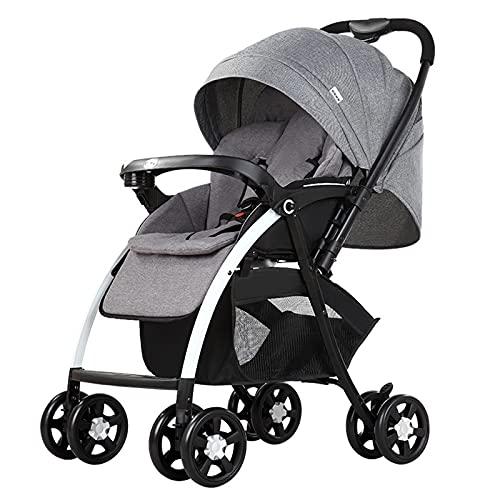 ZXJ Cochecito Portátil para Bebé para Bebé De 4 Ruedas Carrito Plegable De Una Mano con Asa Reversible para Recién Nacidos hasta 25 Kg (Color : Gray)