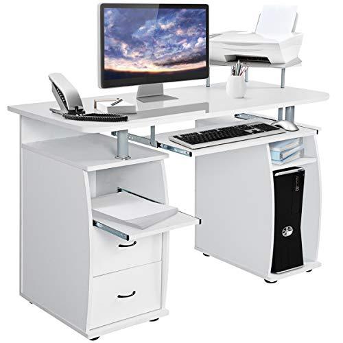 COSTWAY Computertisch Schreibtisch Bürotisch Arbeitstisch PC-Tisch mit Tastaturauszug Druckerablage Schubladen Farbwahl (weiß)