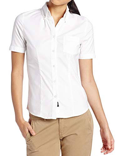 Lee Uniforms Junior's Short Sleeve Stretch Oxford Blouse, White, Small
