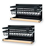 Sleclean Magnetic Spice Rack Organizer for Refrigerator, Pack of 2, paper towel holder magnetic,Refrigerator Organizers and Storage, Multi Use Kitchen Magnetic Shelf,13.4″x4.5″x7.1″,Black