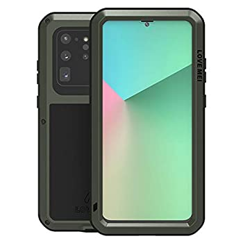 LOVE MEI for Samsung Galaxy S20 Ultra Case,Outdoor Sports Heavy Duty Waterproof Shockproof Dust/Dirt Proof Aluminum Metal+Silicone+Tempered Glass Case Cover for Samsung Galaxy S20 Ultra  Green