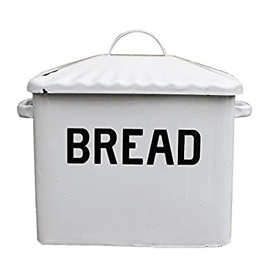 Creative Co-Op DA1987 Distressed White BREAD  Box with Lid