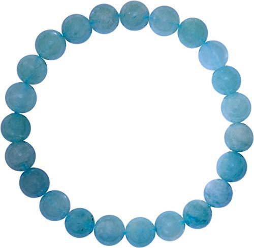 Kaltner Präsente cadeau-idee - power armband met ballen van edelsteen aquamarijn blauw groen (stretch band)