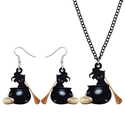 Acrílico Halloween Calabaza Pote Gato Gatito Joyería Joyería Linda Mascota Animal Pendiente Collar Diversión Regalos For Mujeres Niñas Niñas Hyococ (Color : Black)