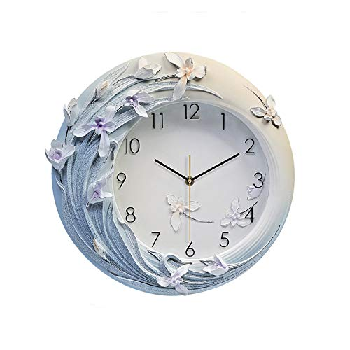 VSander Blue Flowers Hand-painted 3D Relief Wall Clock Mute Creative Luxury European Modern Resin Home Decorations 42 * 41cm